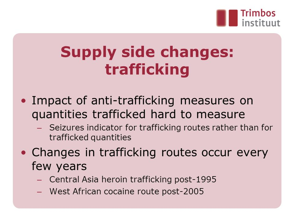 Supply side changes: trafficking