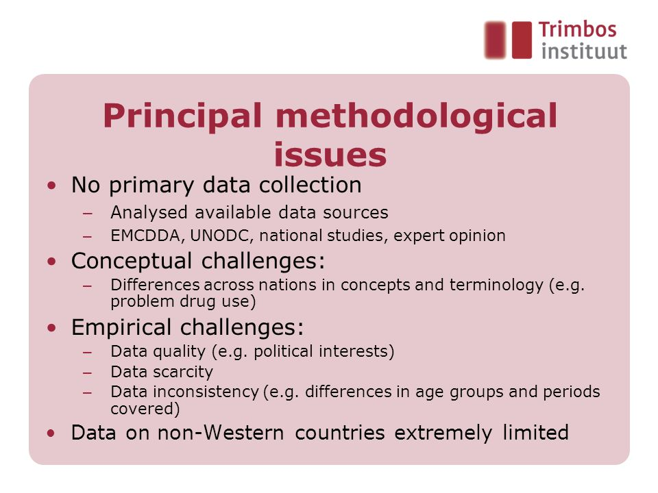 Principal methodological issues
