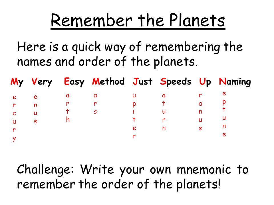 ways to memorize the planets - photo #8