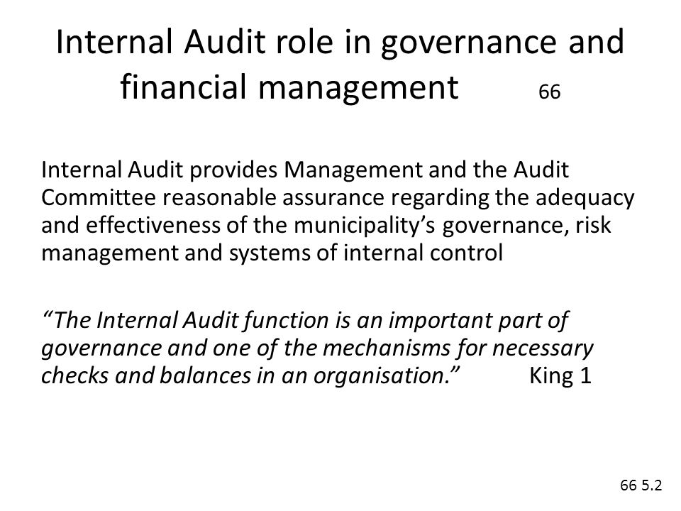 management of the internal audit function The internal audit and risk management directorate provides a centralised internal audit function to the following ministries and entities: office of the prime minister.