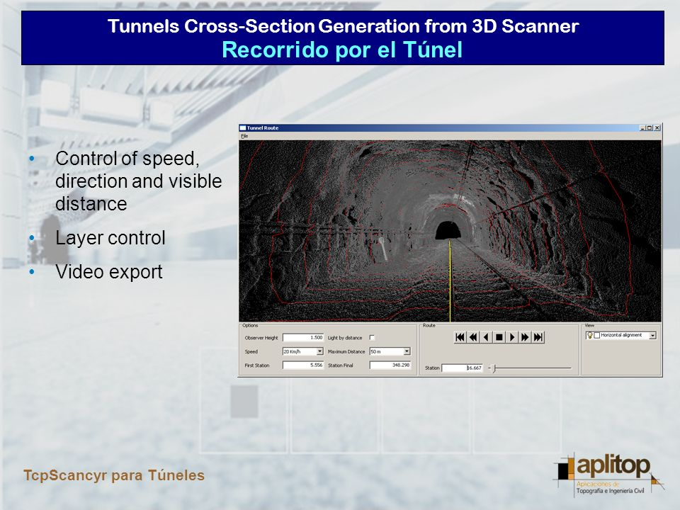Recorrido por el Túnel Control of speed, direction and visible distance Layer control Video export