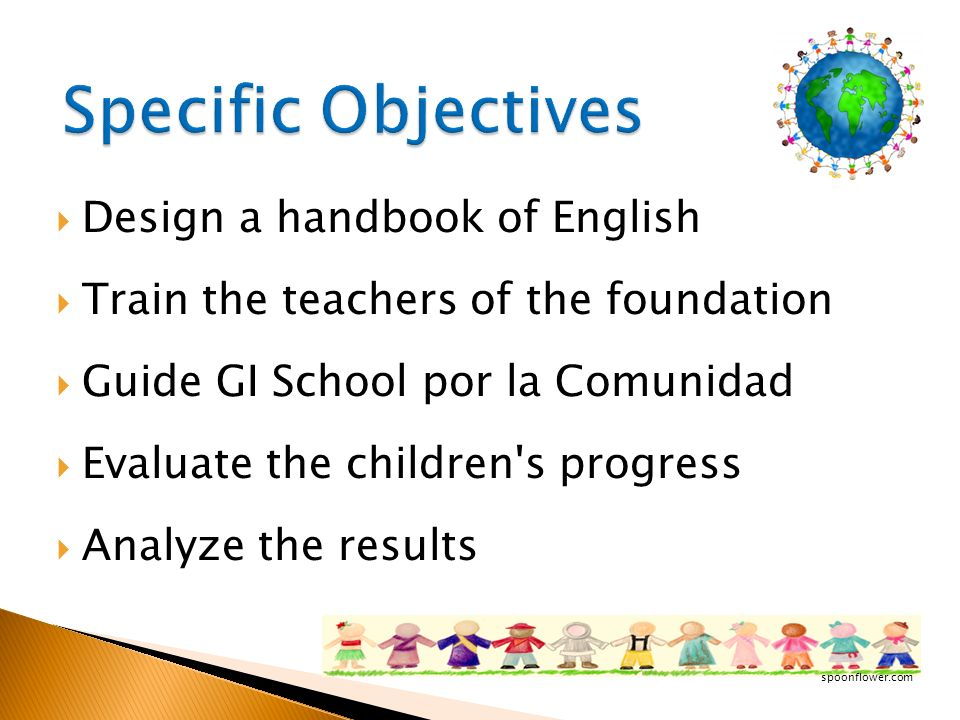Specific Objectives Design a handbook of English
