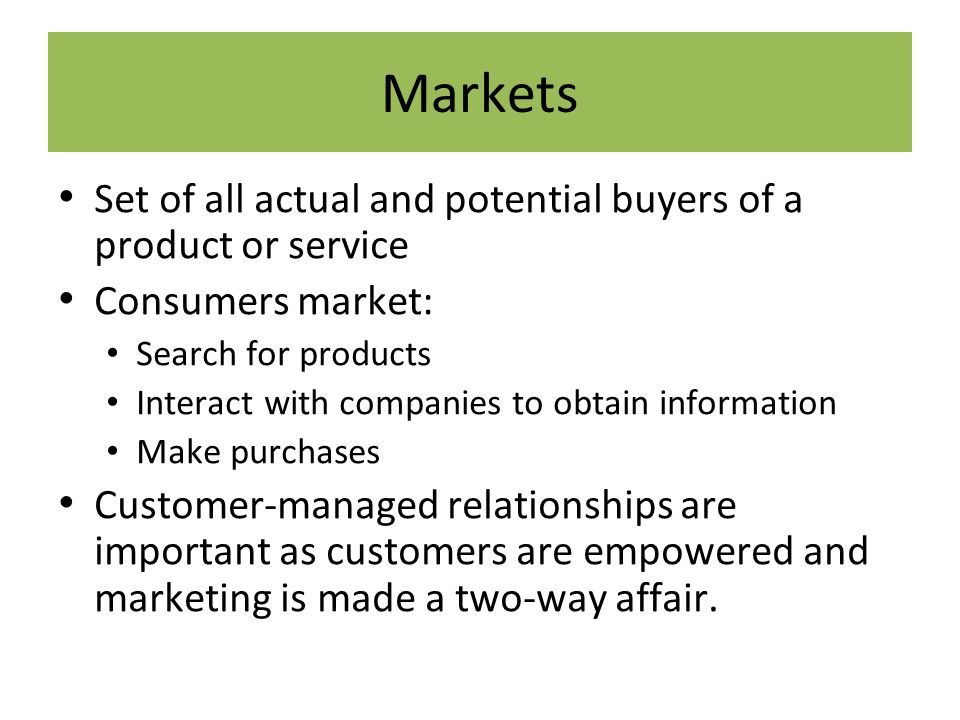 market the set of actual and potential buyers Suppliers with a handful of powerful buyers are usually vulnerable to the terms buyers want to set competitive rivalry — how many competitors exist in the given market the more competitors there are offering similar products or services the less attractive the market is.