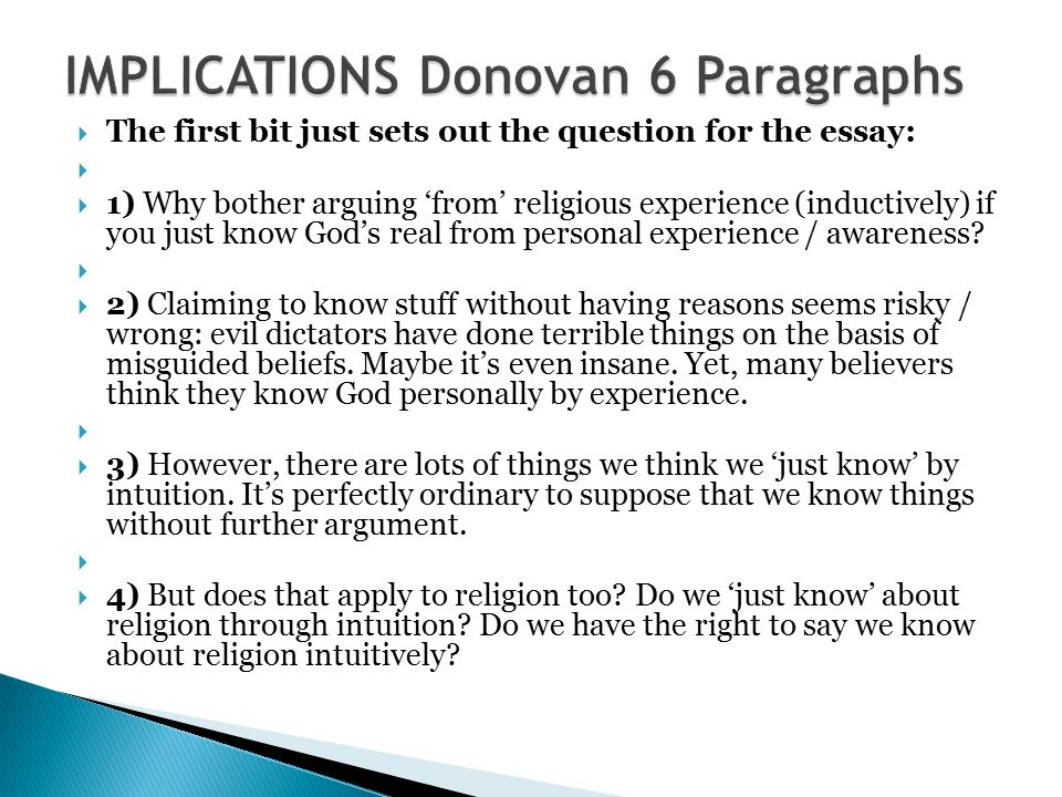 implications intro the texts are by ayer donovan westphal 84 implications donovan 6 paragraphs