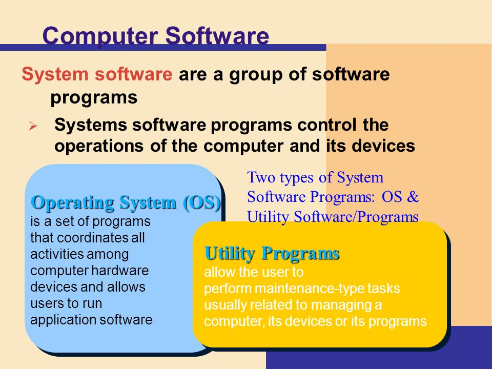 brucewegner what are the different types of computer softwares