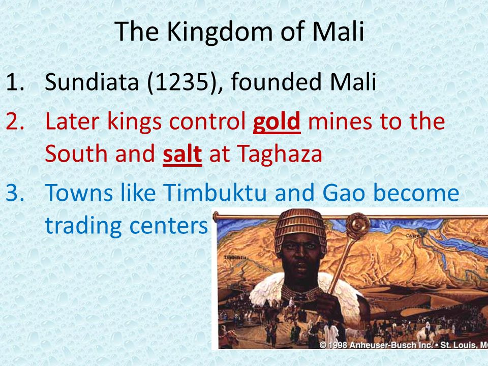 Trading system of mali
