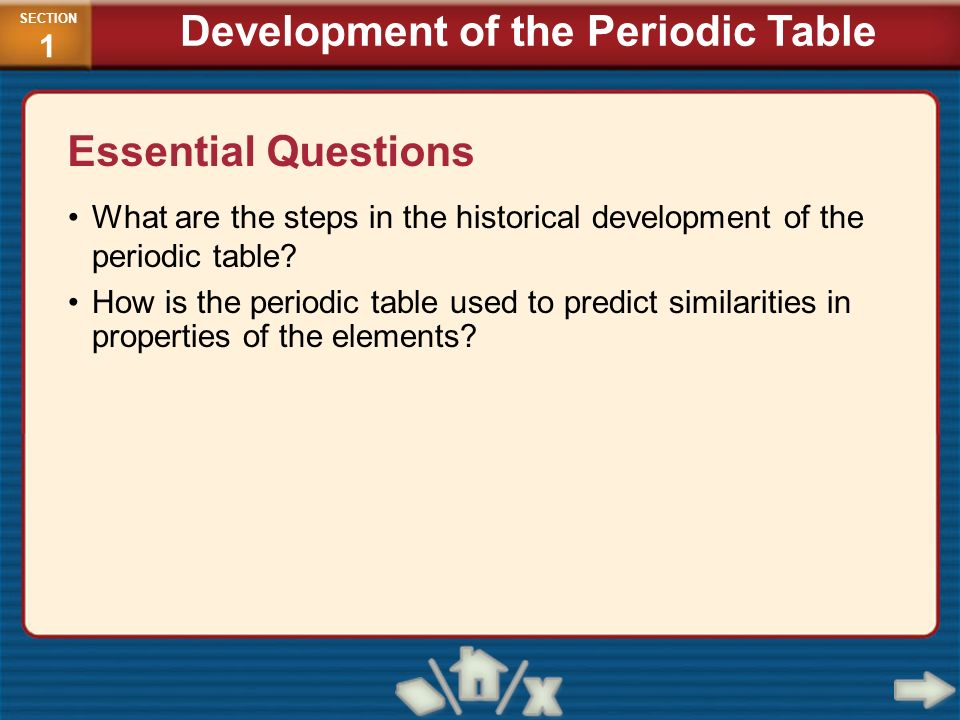 development of the periodic table - Periodic Table Applications