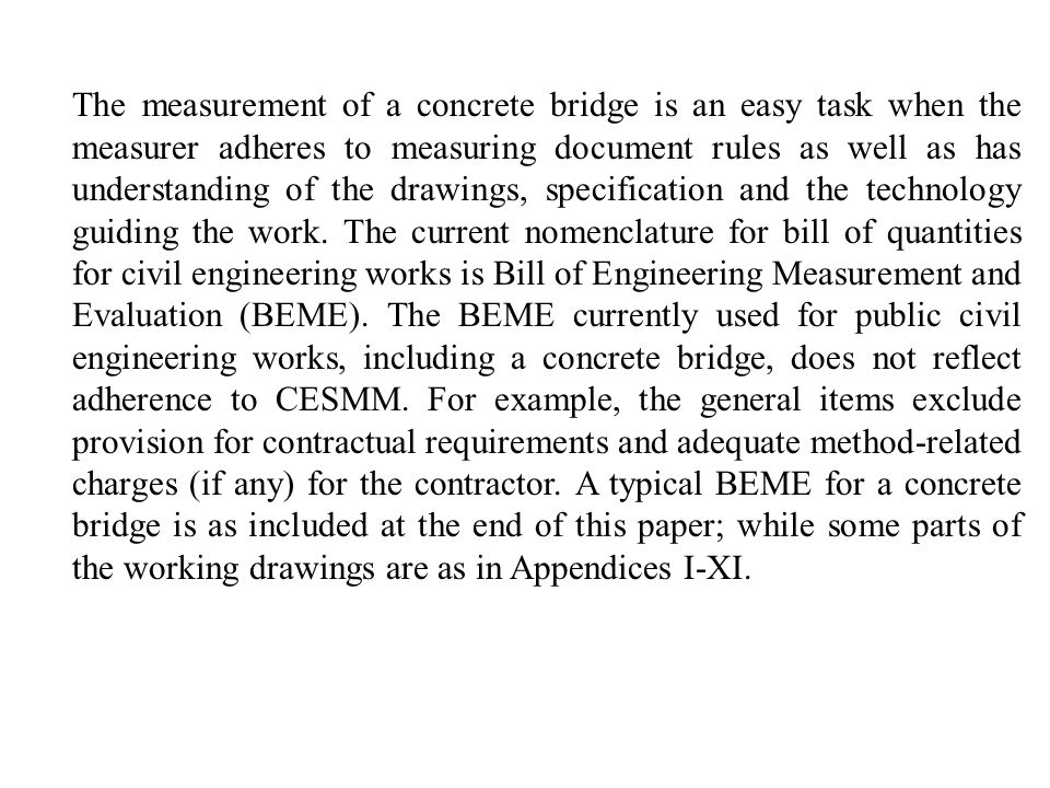 sample of bill of engineering measurement and evaluation pdf