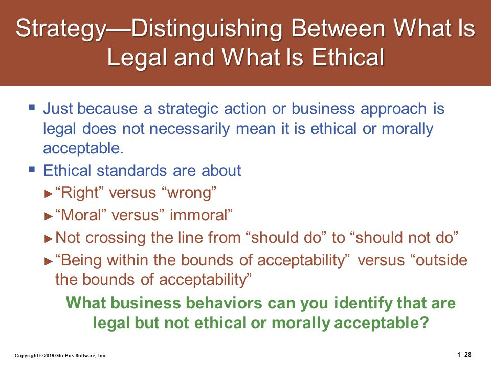 What is legal is not necessarily moral and what is moral ...