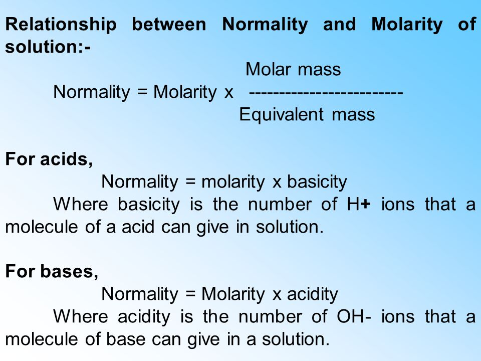 mathematical relationship of molarity and normality