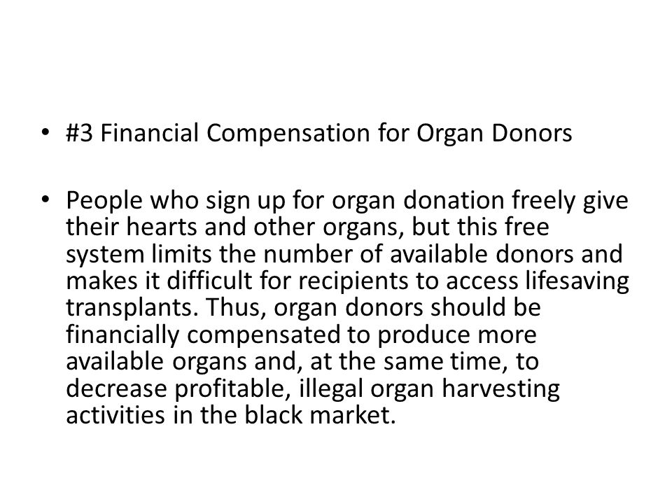 compensation for live organ donors