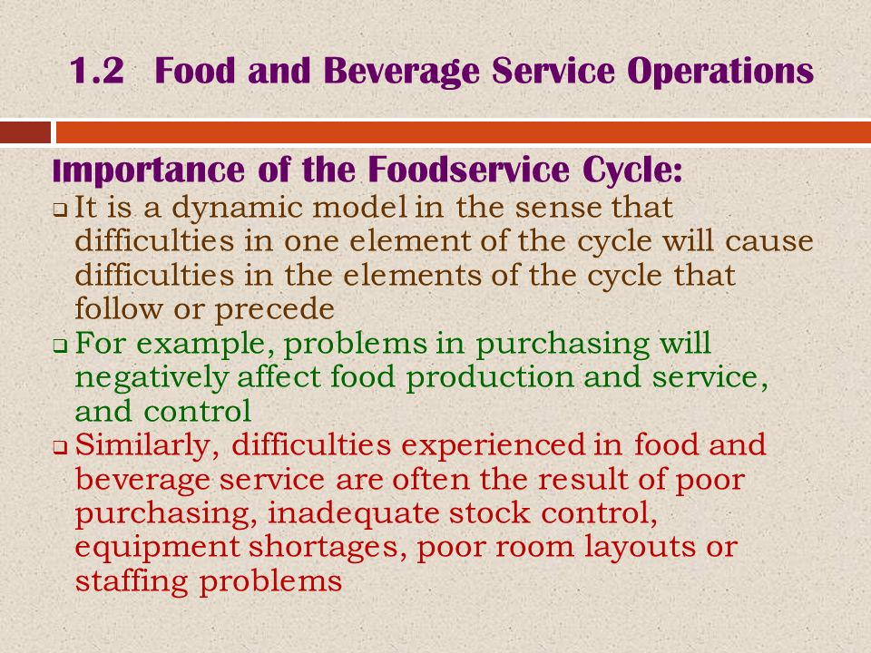 importance of food and beverage service Food service in hospital: development of a theoretical the importance of hospital food service and the use of food as treatment are not new for food and beverage costs at breakfast there was a choice of white or brown bread, the option of fruit juice.