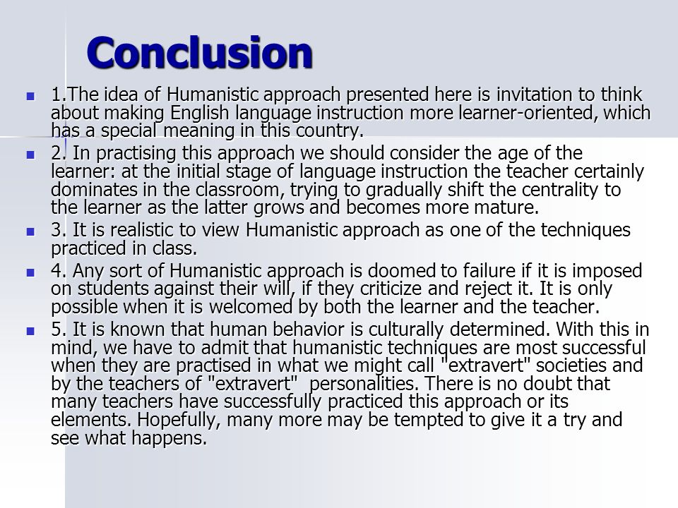 humanistic language teaching Official language education in ecuador: exploring the humanistic outcome of official bilingual initiatives author(s): humanising language teaching.