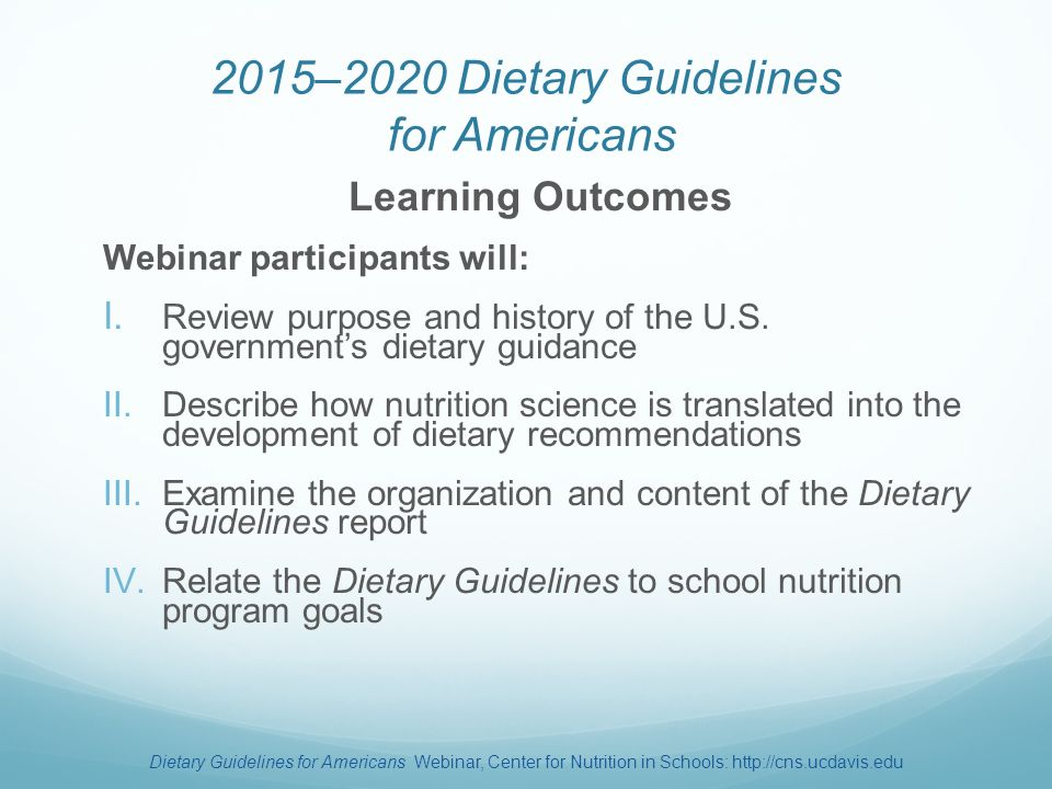 2015–2020 Dietary Guidelines for Americans