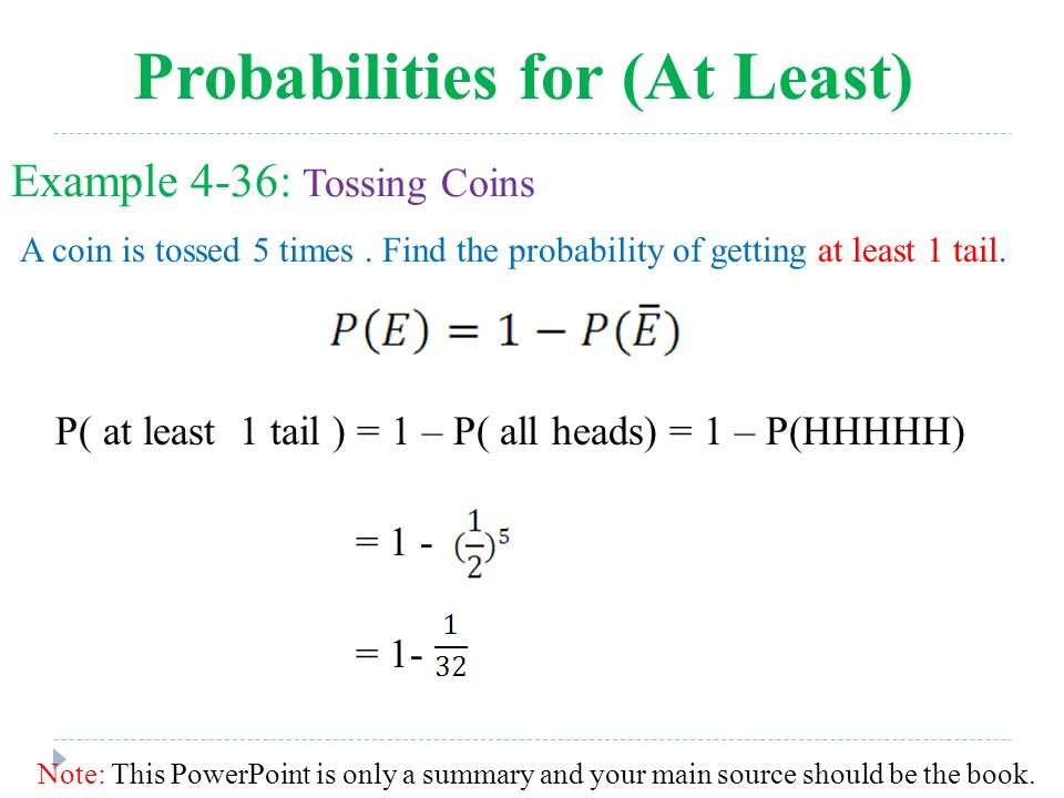 What is the probability of getting heads on a coin tossed 5