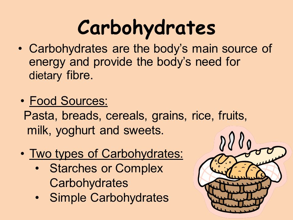 a summary on carbohydrates as the main energy source Sources of energy: carbohydrates, fats and protein  • major source of energy and helps our bodies absorb vitamins • important for proper growth and for keeping us healthy – focus on  summary •carbohydrates, protein and fats are important nutrients in our diet.