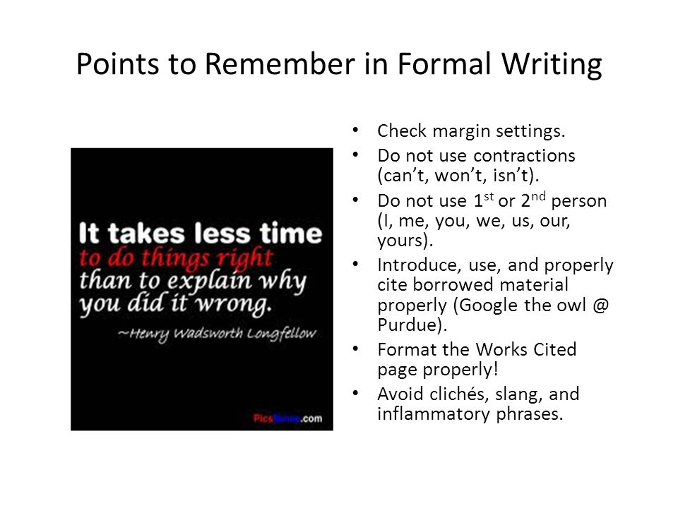 formal essay can i use i Once you've been assigned an academic essay, take a look at the article below and learn how to use bullet points and sub-paragraphs in a paper properly.