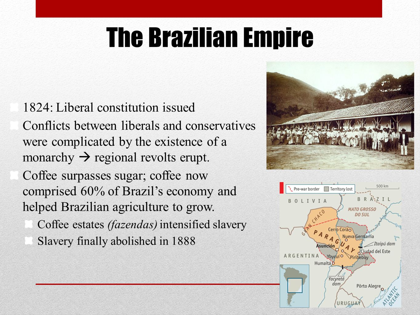 The Brazilian Empire 1824: Liberal constitution issued