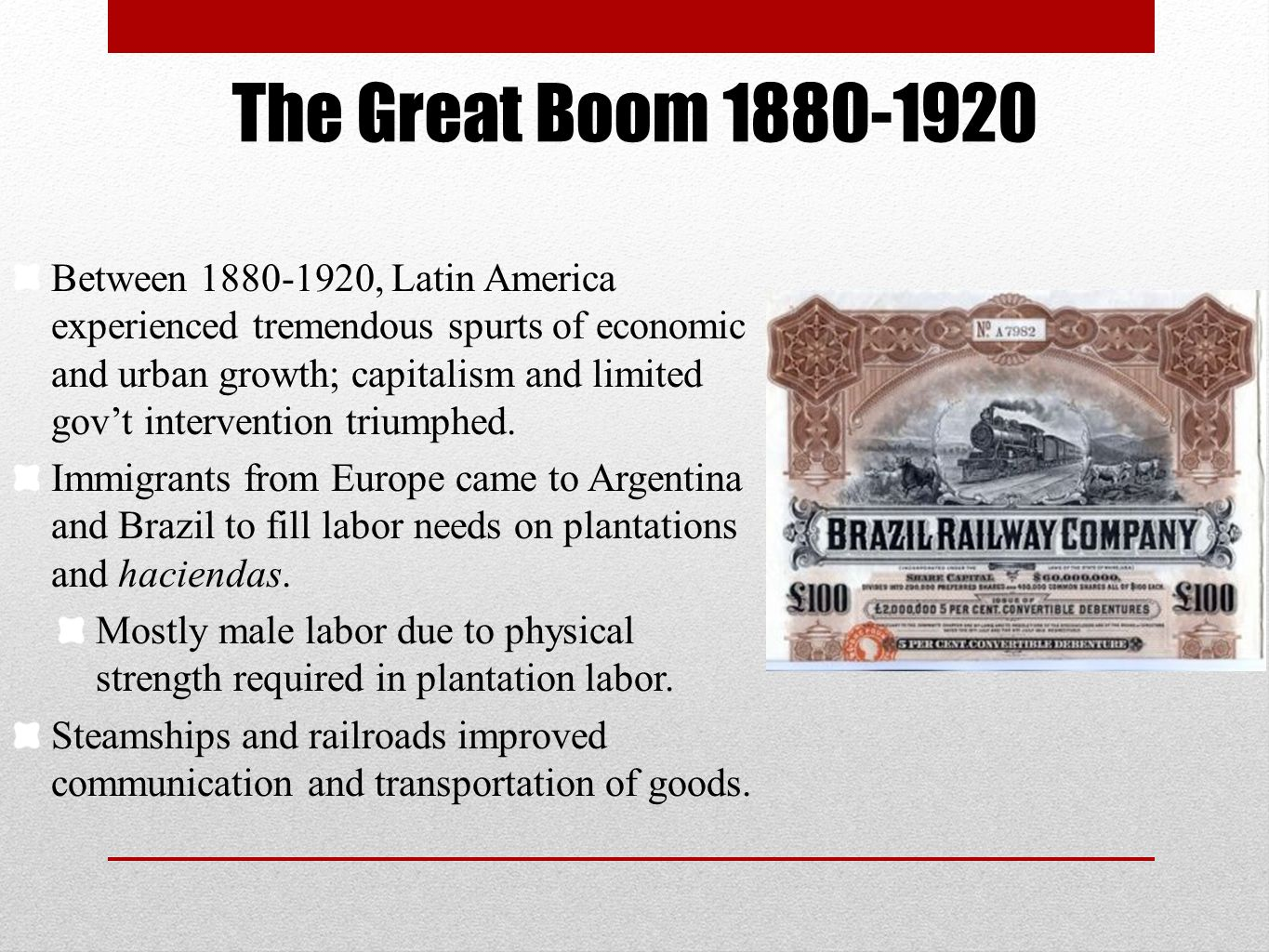 The Great Boom 1880-1920