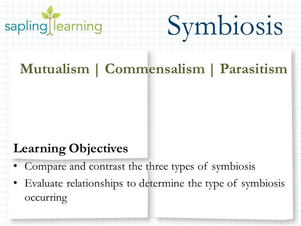 Symbiosis mutualism commensalism parasitism learning Types of contrast