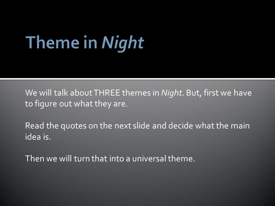 themes in night by elie wiesel In this lesson, students will identify, discuss, and write about themes in elie wiesel's night theme is sometimes a difficult concept for students to grasp, but it is essential to their development in literary analysis.