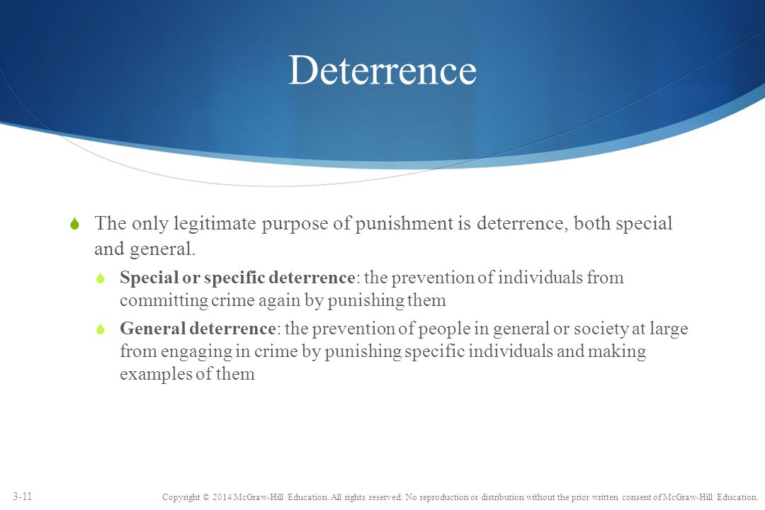 Philosophy of punishment deterrence general and