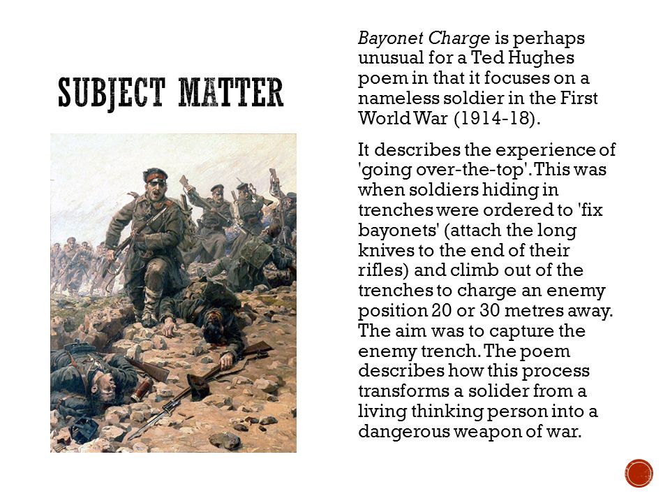 bayonet charge gcse Lesson plan: 'bayonet charge', by ted hughes 'suddenly he awoke and was running': no hesitation from the former ted hughes in this explosive poem the former poet laureate takes the reader.