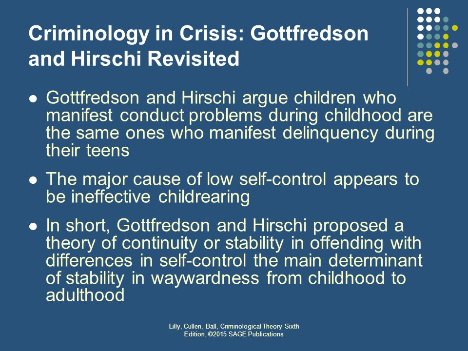 Self-Control Theory and Crime