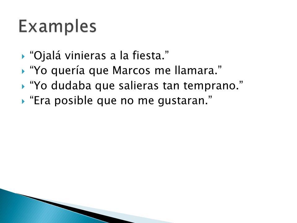 Examples Ojalá vinieras a la fiesta.