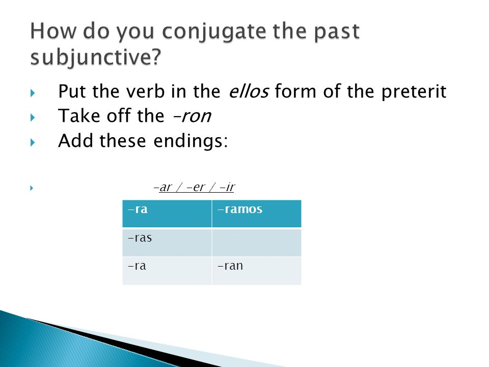 How do you conjugate the past subjunctive