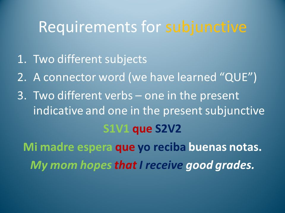 Requirements for subjunctive