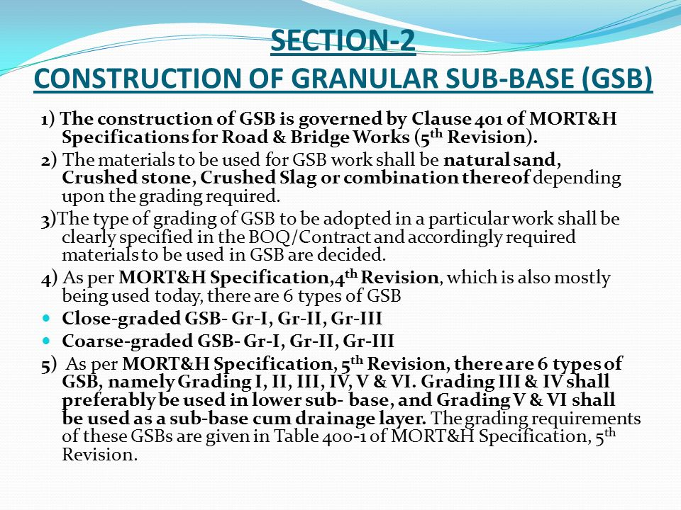 Specifications quality requirements pertaining to for Table 6 4 specification for highway works