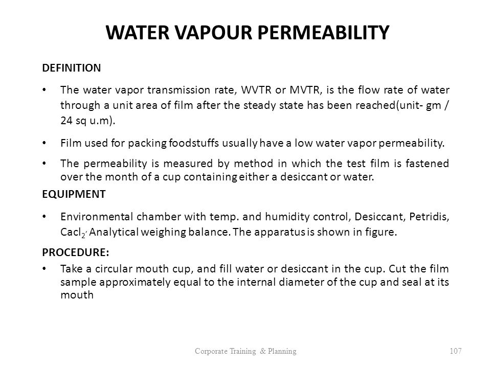 WATER VAPOUR PERMEABILITY