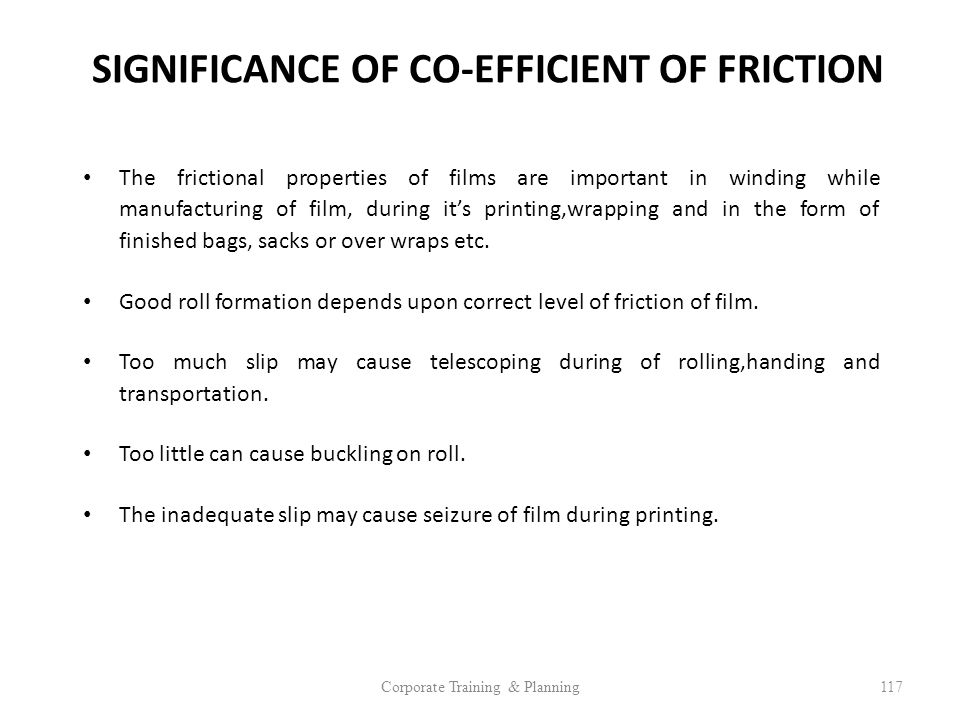 SIGNIFICANCE OF CO-EFFICIENT OF FRICTION
