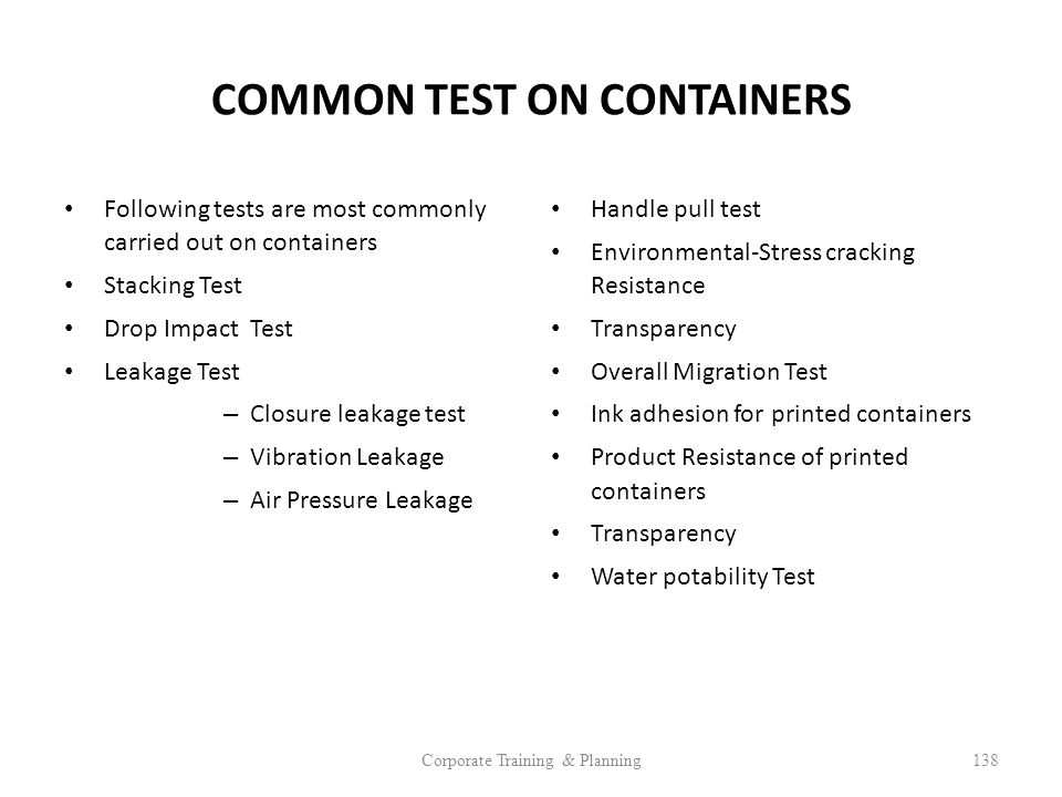 COMMON TEST ON CONTAINERS