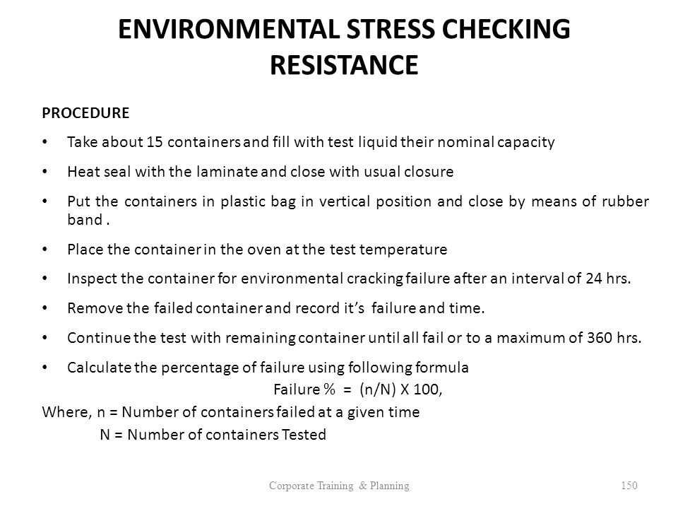 ENVIRONMENTAL STRESS CHECKING RESISTANCE