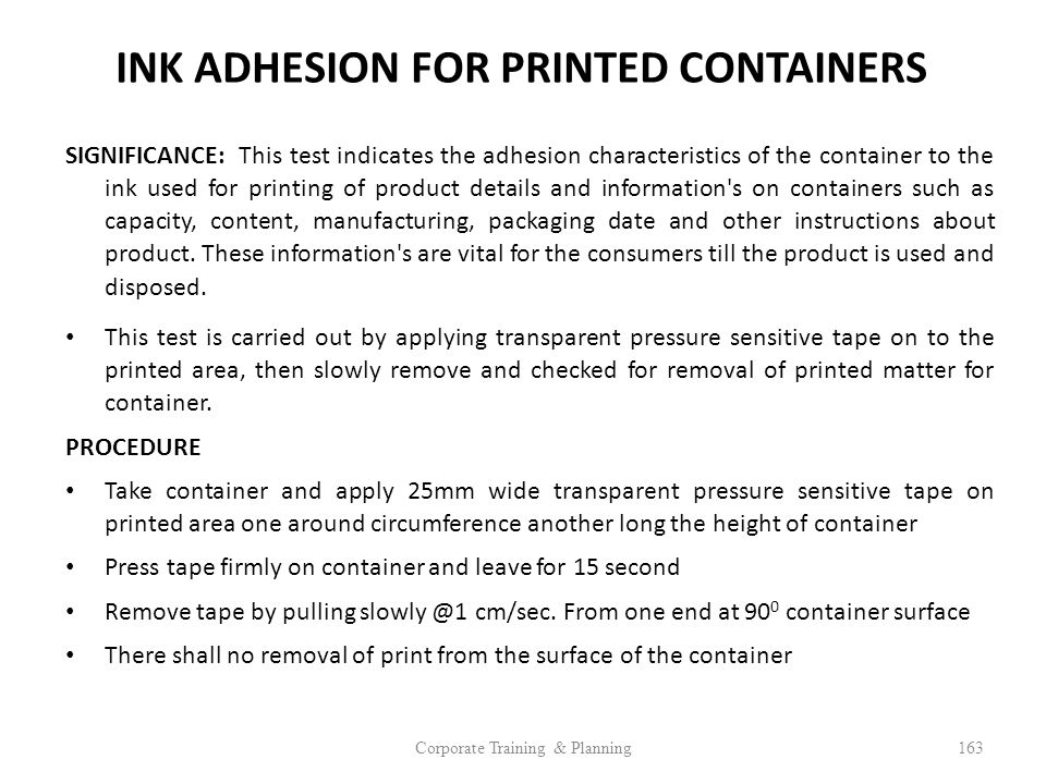 INK ADHESION FOR PRINTED CONTAINERS