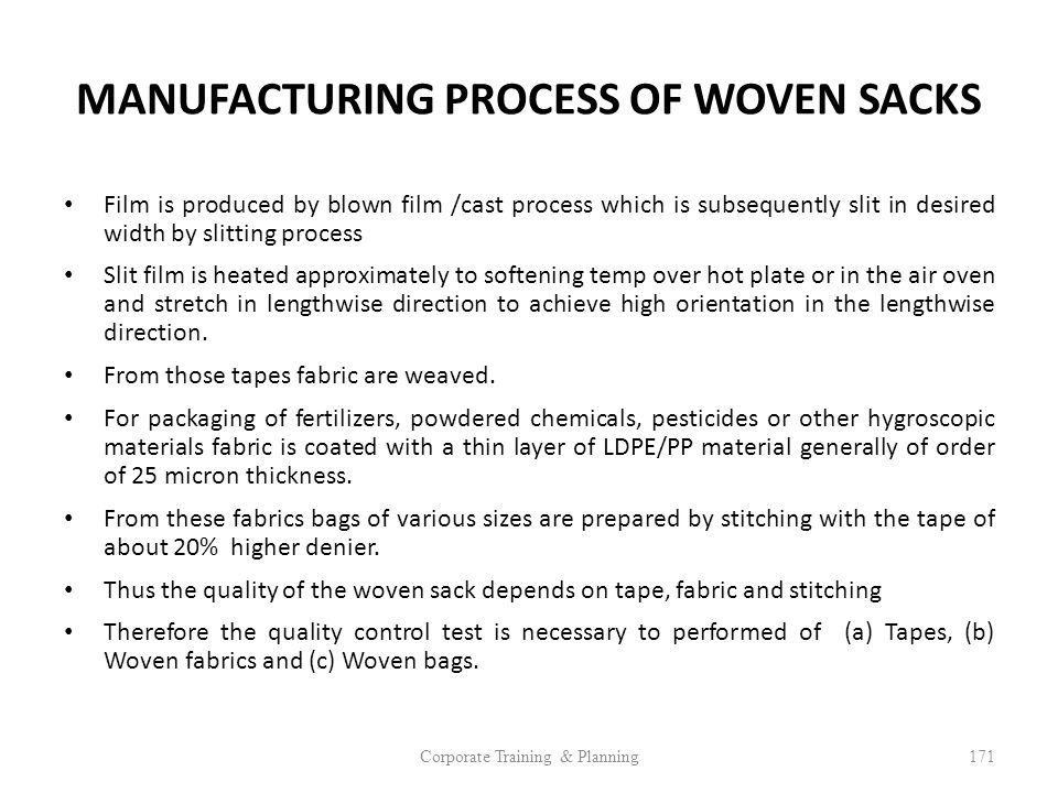 MANUFACTURING PROCESS OF WOVEN SACKS