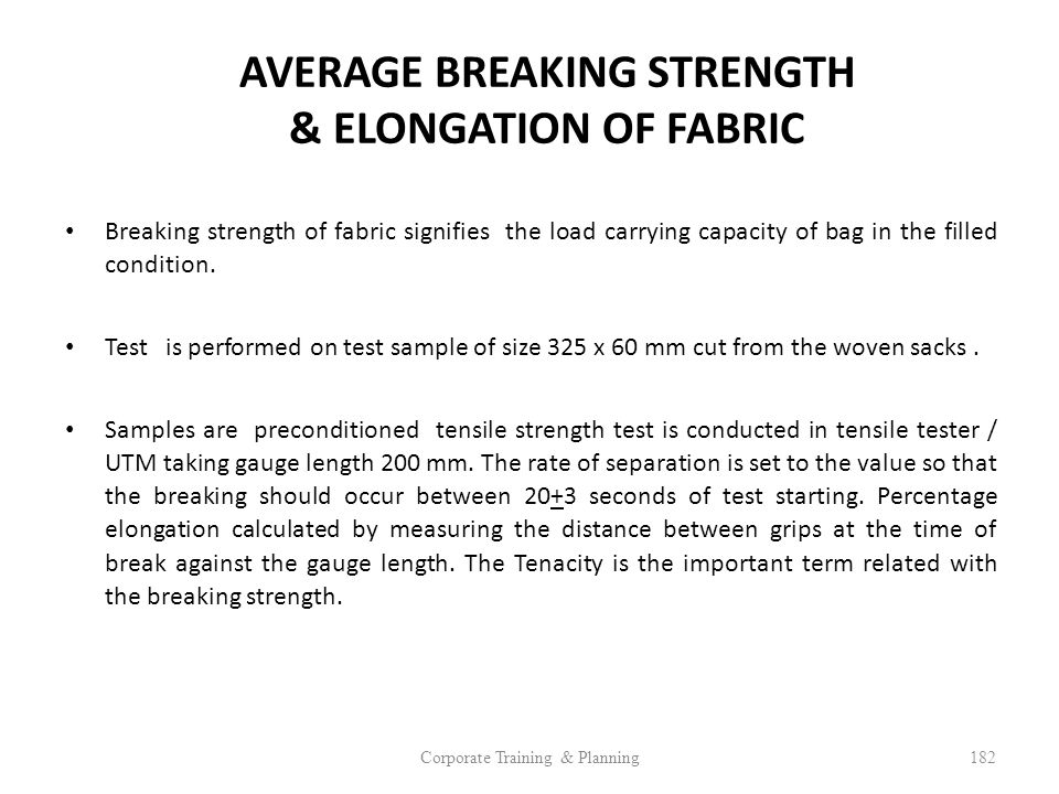 AVERAGE BREAKING STRENGTH & ELONGATION OF FABRIC