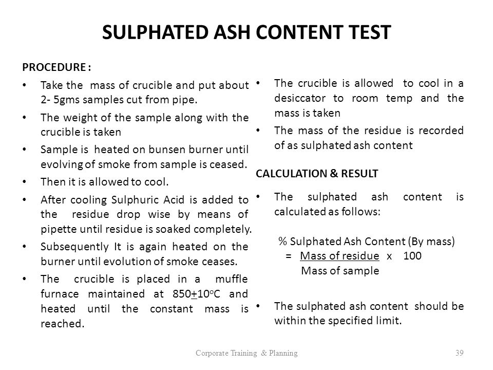 SULPHATED ASH CONTENT TEST