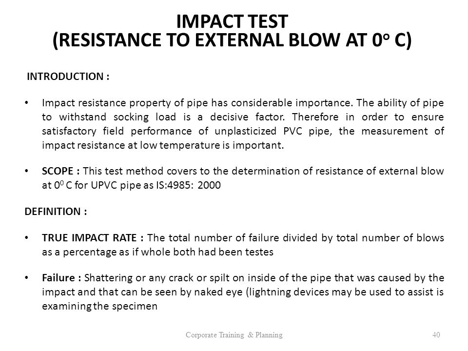 IMPACT TEST (RESISTANCE TO EXTERNAL BLOW AT 0o C)