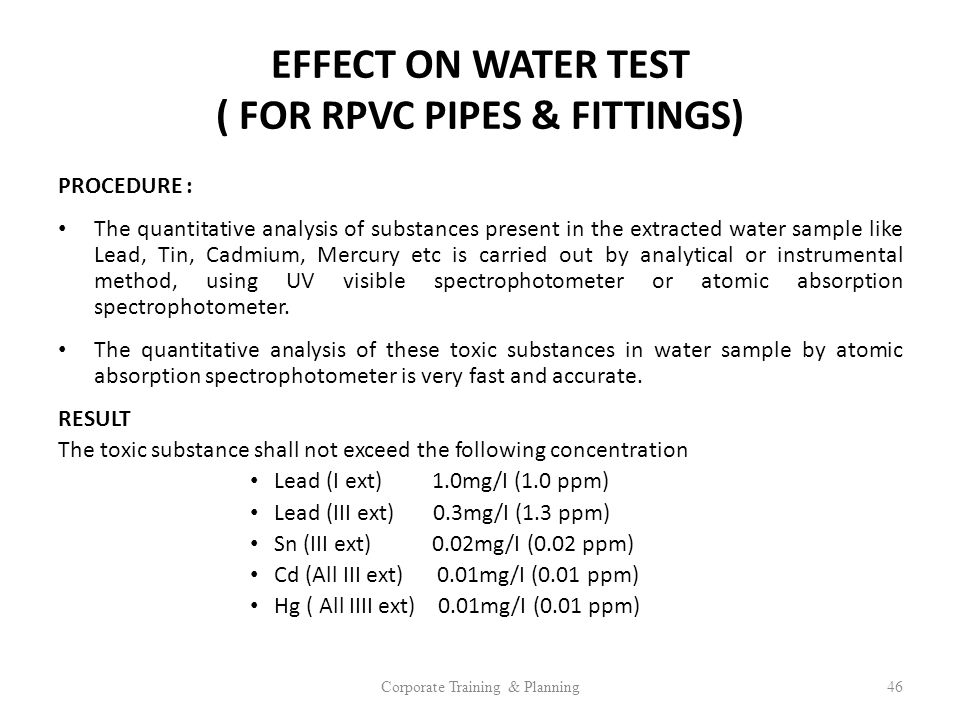 EFFECT ON WATER TEST ( FOR RPVC PIPES & FITTINGS)