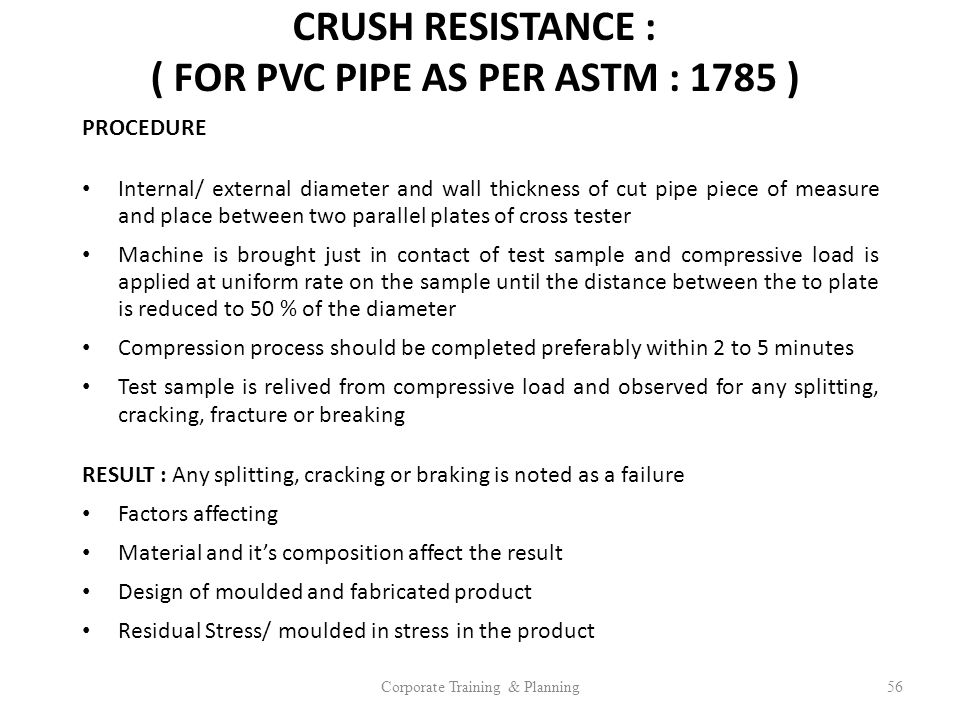 CRUSH RESISTANCE : ( FOR PVC PIPE AS PER ASTM : 1785 )