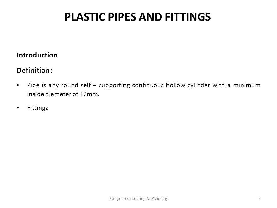 PLASTIC PIPES AND FITTINGS