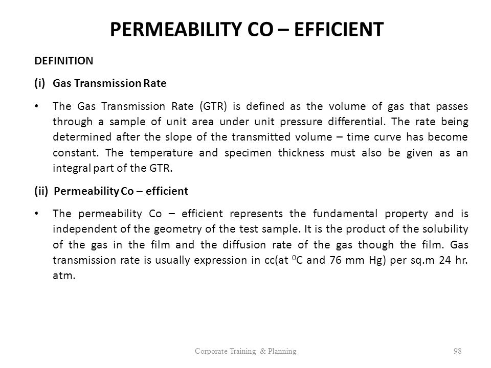 PERMEABILITY CO – EFFICIENT