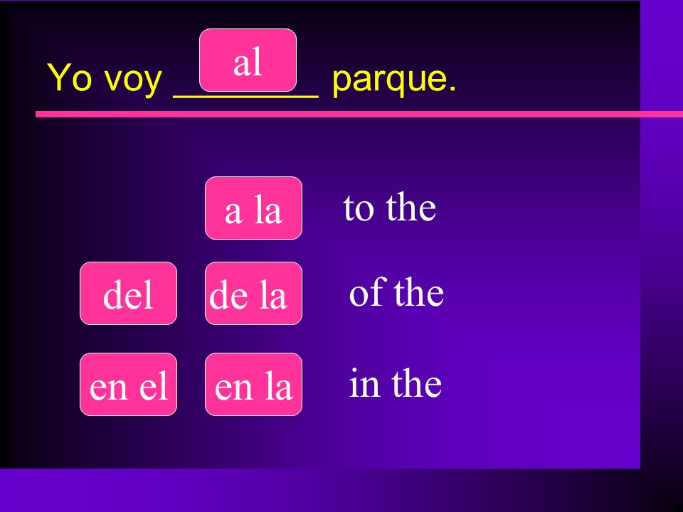 al a la to the del de la of the en el en la in the