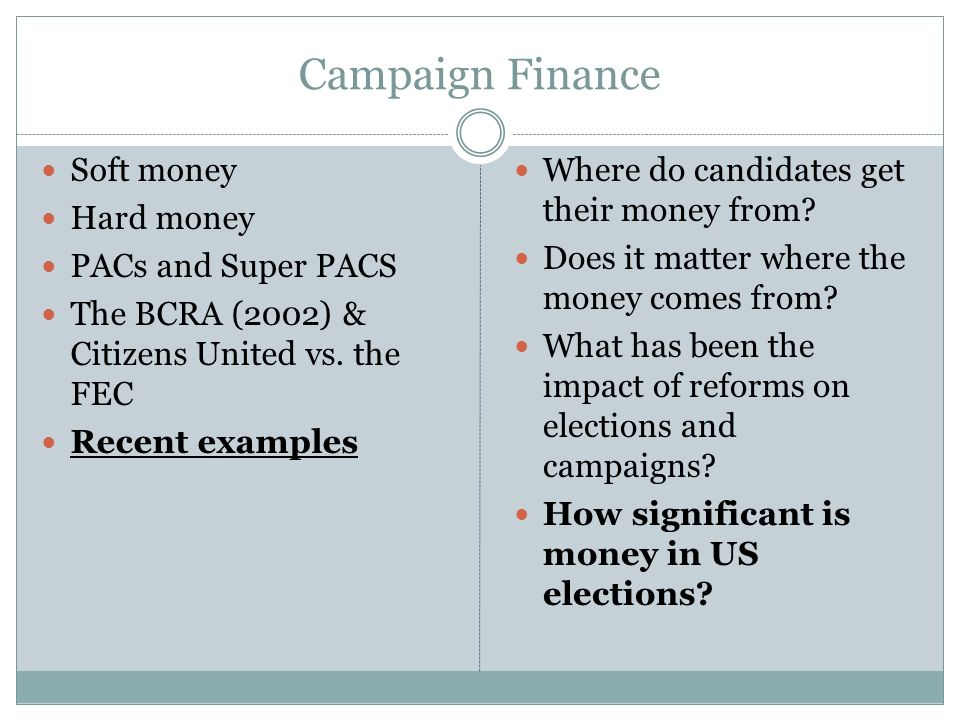 The great significance of money in election campaigns