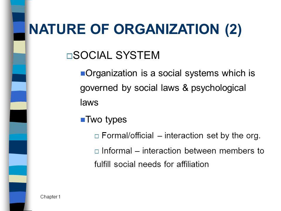 NATURE OF ORGANIZATION (2)