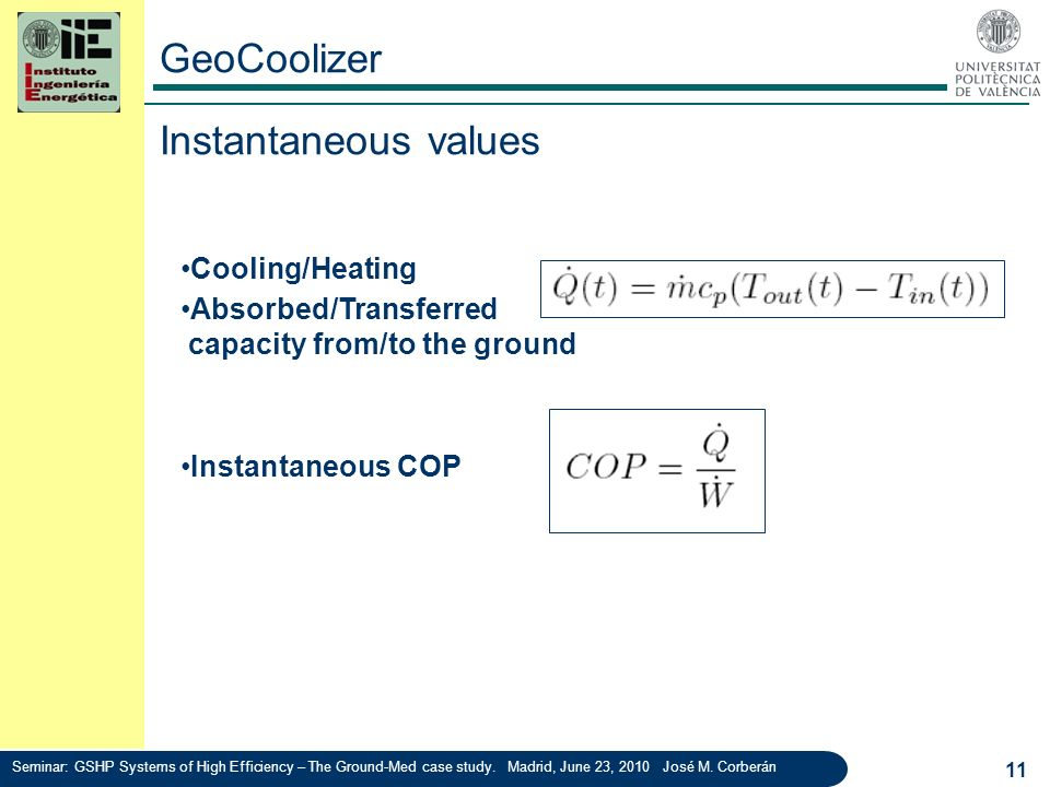 GeoCoolizer Instantaneous values Cooling/Heating capacity