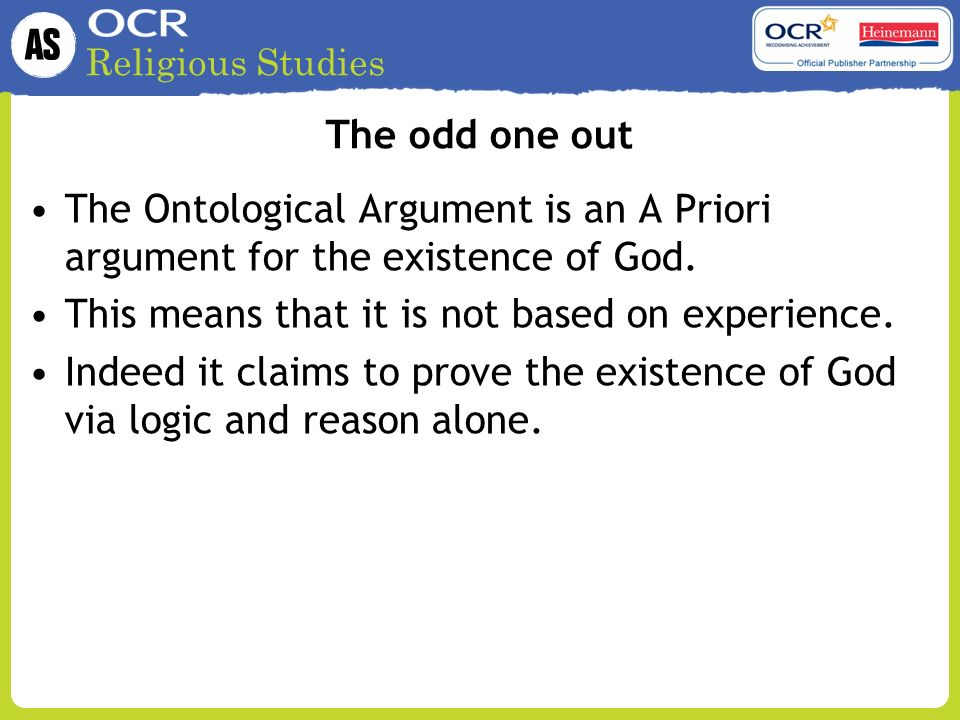the ontological argument an explanation and Previous commentators have not adequately explained what this claim means,  how it undermines the ontological argument, or how kant argues for it i argue.